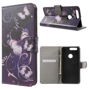 Stand Leather Patterned Cover for Huawei Honor 8 - Purple Butterflies and Vines