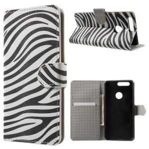 Patterned Leather Wallet Card Holder Case for Huawei Honor 8 - Zebra Stripes