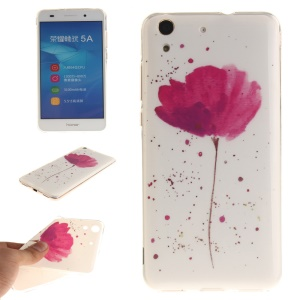 Protective IMD TPU Phone Shell for Huawei Y6 II / Honor 5A - Red Flower