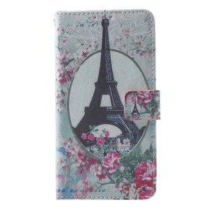 Callfree Stand Leather Wallet Cover for Huawei Honor 8 - Eiffel Tower and Flowers