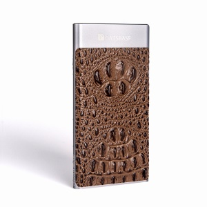 OATSBASF R7 Ultra Thin 8000mAh Genuine Leather Coated Skin Power Bank for iPhone Samsung -  Cowhide Texture / Brown