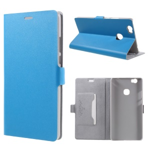 DOORMOON Genuine Leather Stand Cover with Card Holder for Huawei Honor Note 8 - Blue