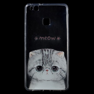 Patterned IMD TPU Back Protective Cover for Huawei P9 Lite / G9 Lite - Adorable Cat