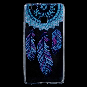 Patterned IMD TPU Flexible Phone Cover for Huawei P9 Lite / G9 Lite - Feather Dream Catcher