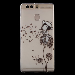 Gel TPU Patterned IMD Back Phone Case for Huawei P9 - Girl Playing the Flute and Dandelions