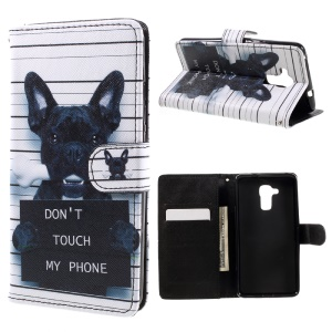 Patterned Leather Cover for Huawei Honor 5c / GT3 - Dog and Dot Not Touch My Phone