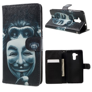 Patterned Leather Wallet Stand Case for Huawei Honor 5c / GT3 - Masked Gorilla