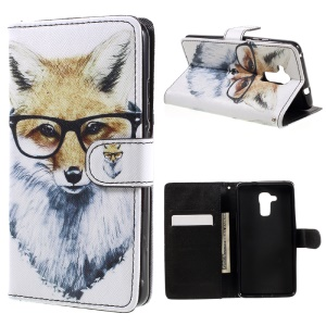 Patterned Leather Case Card Holder for Huawei Honor 5c / GT3 - Fox Wearing Glasses