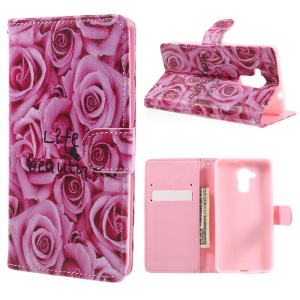 Magnetic Flip Leather Case Cover for Huawei Honor 5c / GT3 - Pretty Roses