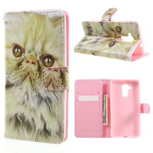 Patterned PU Leather Phone Case for Huawei Honor 5c / GT3 - Lovely Cat