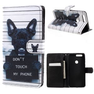 Patterned Leather Flip Cover for Huawei Honor 8 - Dog and Dot Not Touch My Phone
