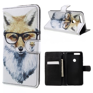 PU Leather Cover with Lanyard for Huawei Honor 8 - Fox Wearing Glasses