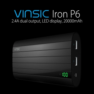 VINSIC 20000mAh 2.4A Dual USB Output Power Bank for iPhone Samsung Huawei with LED Display
