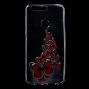 Pattern Printing TPU Back Shell for Huawei Honor 8 - Red Butterflies