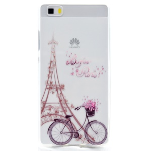 Soft TPU Skin Patterned Cover for Huawei Ascend P8 Lite - Eiffel Tower and Bike