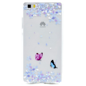 Soft TPU Patterned Back Case for Huawei Ascend P8 Lite - Butterflies and Flowers