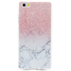 Soft TPU Protection Cover for Huawei Ascend P8 Lite - Glitter Marble Pattern