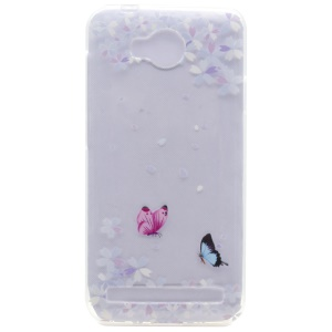 Patterned TPU Gel Cover for Huawei Y3II / Y3 II - Butterflies and Florets