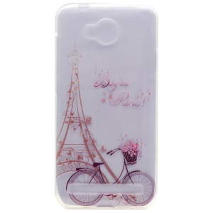 Patterned TPU Gel Cover for Huawei Y3II / Y3 II - Eiffel Tower and Bike