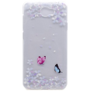 Soft TPU Cover Case for Y5II / Y5 II - Flowers and Butterflies