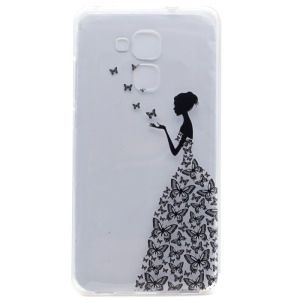 Pattern Printing Soft TPU Back Cover for Honor 5C / GT3 - Lady in Butterfly Dress