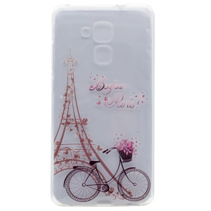 For Honor 5C / GT3 Patterned Soft TPU Case - Eiffel Tower and Bike
