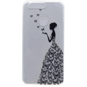 For Huawei Honor 8 Patterned TPU Gel Case Skin - Lady in Butterfly Dress