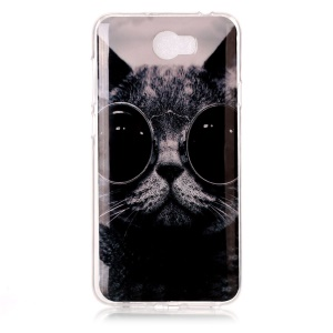 Soft IMD TPU Cover for Y5II / Y5 II - Adorable Cat Wearing Glasses