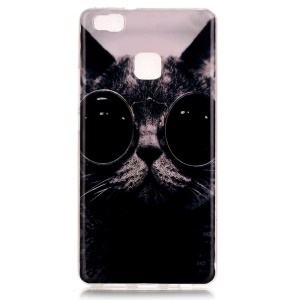 Soft IMD TPU Shell Case for Huawei P9 Lite - Adorable Cat Wearing Glasses