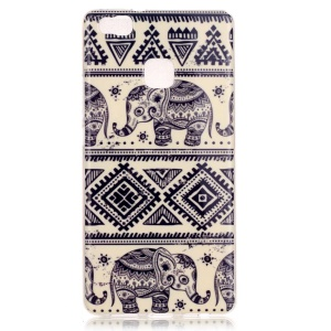 Soft IMD TPU Cover Case for Huawei P9 Lite - Elephant and Geometric Pattern