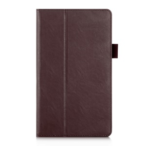 Leather Card Slot Stand Shell with Elastic Strap for Huawei MediaPad M3 8.4 - Brown