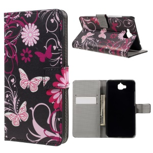 Pattern Printing Wallet Leather Stand Case for Huawei Y6 Pro / Enjoy 5 - Butterfly and Flower