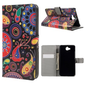 Pattern Printing Wallet Leather Stand Cover for Huawei Y6 Pro / Enjoy 5 - Paisley Pattern