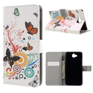 Card Holder Leather Stand Shell for Huawei Y6 Pro / Enjoy 5 - Butterfly Circles