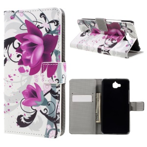 Stand Wallet Leather Patterned Case for Huawei Y6 Pro / Enjoy 5 - Purple Flowers