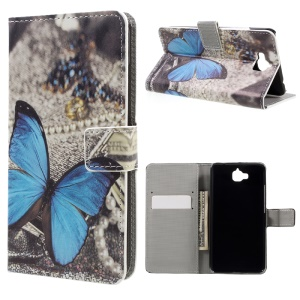 Pu Leather Protective Cover with Stand for Huawei Y6 Pro / Enjoy 5 - Blue Butterfly