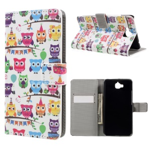 Patterned Leather Stand Shell Cover for Huawei Y6 Pro / Enjoy 5 - Multiple Owls