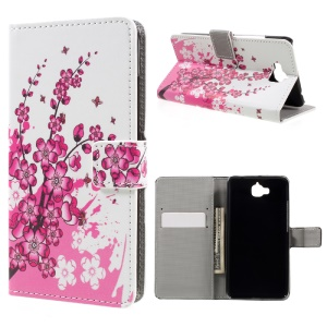 Pattern Printing Leather Stand Case for Huawei Y6 Pro / Enjoy 5 - Plum Blossom