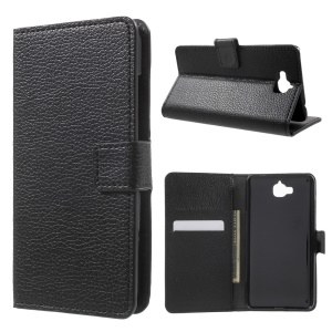 Litchi Texture Leather Wallet Case for Huawei Y6 Pro / Enjoy 5 - Black