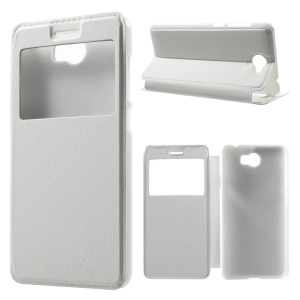 View Window Leather Cover for Honor Y5II / Y5 II / Honor 5 - White