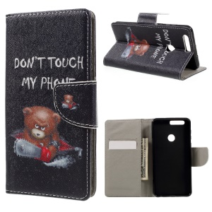 Patterned Leather Wallet Cover for Huawei Honor 8 - Cool Angry Bear