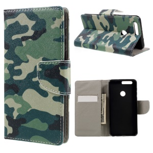 Patterned Leather Wallet Case for Huawei Honor 8 - Camouflage Pattern