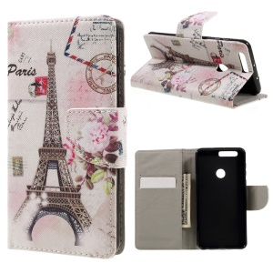 Patterned Leather Stand Flip Case for Huawei Honor 8 - Paris Eiffel Tower