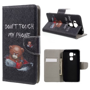 Patterned Leather Case for Huawei Nova Plus/G9 Plus/Maimang 5 - Warning Words and Cool Bear