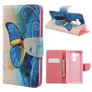 Leather Stand Card Slot Case for Huawei Nova Plus/G9 Plus/Maimang 5 - Beautiful Butterfly