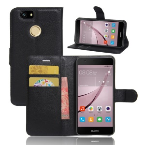 For Huawei nova Litchi Grain Leather Wallet Case Cover with Stand - Black
