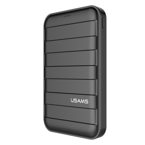 USAMS US-CD06 10000mAh Suitcase Pattern Dual USB Power Bank with Flashlight - Black