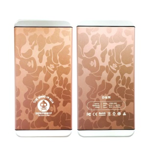 D&M 2-Port USB 6000mAh Metal Portable Power Bank - Cow Pattern / Rose Gold