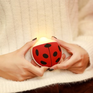 Cute Beatles Shape USB Winter Hand Warmer 3500mAh Power Bank LED Night Light - Red