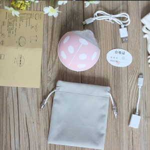 3500mAh Power Bank Beatles Shape USB Winter Hand Warmer LED Night Light - Pink